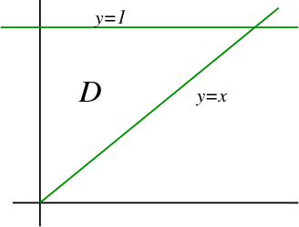 Change order of integration example triangular region