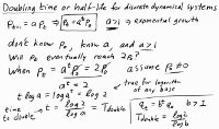 Doubling time and half-life for discrete dynamical systems