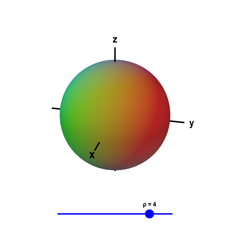 Applet: Surfaces of constant $\rho$ in spherical coordinates